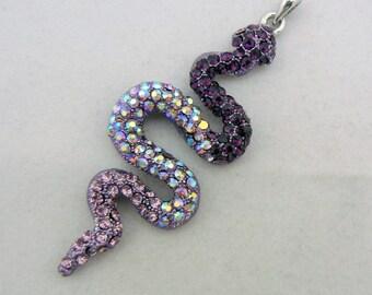 Large Purple Silver-tone Snake Pendant with Amethyst Rhinestones SALE