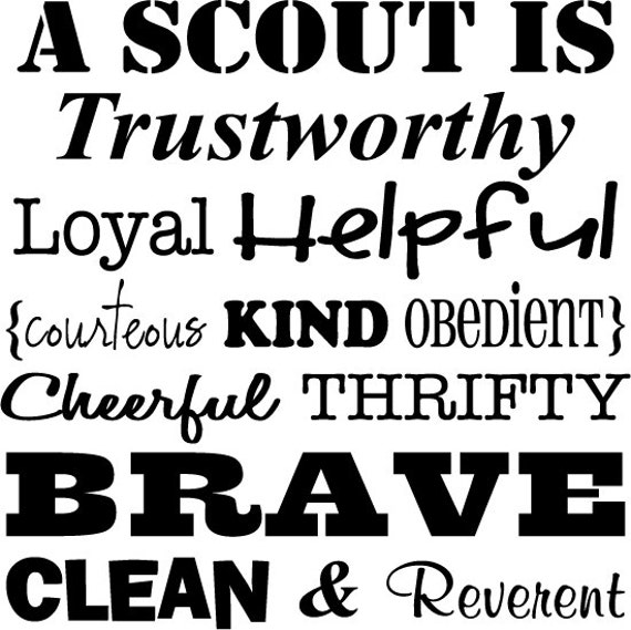 Boy Scout Essay With Quotes: Scout Oath Subway Art Vinyl 23 X 23 Lettering
