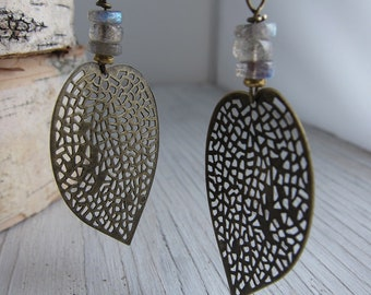 LEAF Earrings, Antiqued Brass Filigree, Labradorite