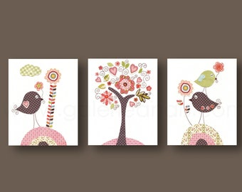 Set of 3 Prints -  by GalerieAnais Nursery art baby nursery decor nursery wall art bird kids art bird tree