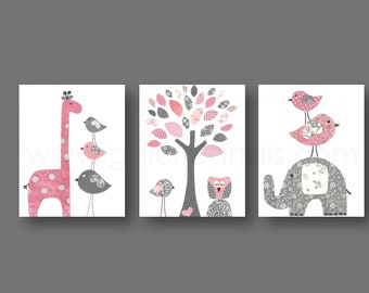 Baby Girl Nursery Girl Nursery Decor Kids Wall Art giraffe Elephant Tree Birds Owl Pink and Gray Set of three prints