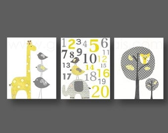Nursery Decor yellow gray Nursery art baby nursery decor Kids owl bird Tree giraffe elephant alphabet Set of three prints