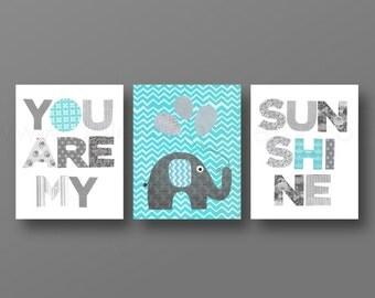 Grey Aqua chevron Nursery art baby boy nursery decor Kids artwork elephant nursery words Set of 3 Prints You Are My Sunshine