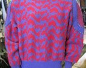 SALE 1980s Red and Purple Crazy Cool Sweater