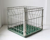 vintage metal milk crate. 1970s NY. rustic industrial home decor. Back to school storage.