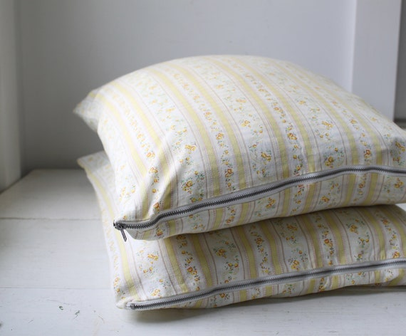 vintage 1940s pillow ticks. Set of 2. Yellow stripe floral, zipper covers. Rustic home decor  / the LEMON CAKE pillow cases
