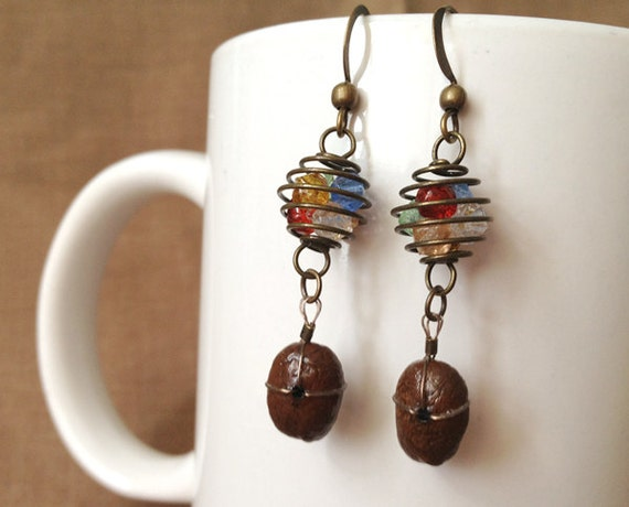 Coffee bean earrings...Beach Balls...FREE SHIPPING