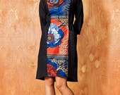 "Dress Linen ""Mathilda"" Navy, African fabric middle part, ""Flowery flaming orange"" SALE 50% OFF"