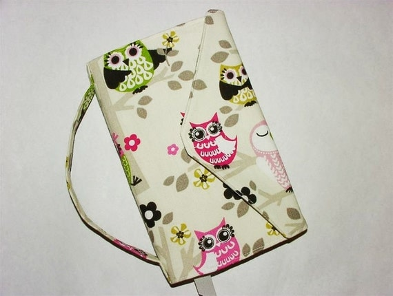 Fabric Paperback Book Cover Trade Size Bookcover Large Book Sleeve Owls Pink Green Black