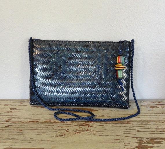 Vintage SHELIA Purse / 1980s Shoulder Bag / Woven Clutch
