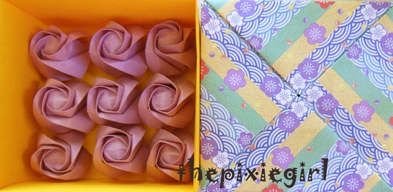ORIGAMI PAPER HANDMADE Light Lavender Dusty Rose Color Roses with Gift Box 1st Year Anniversary