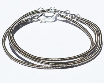 Guitar String Bracelets- 3 Upcycled Bass String Bracelets, Guitar String Jewelry, Music Jewelry, Music Gift, Bass Player Gift