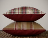 "16"" DECORATIVE PILLOW COVER - Winter Wool Plaid in Cranberry Red, Cream, and Camel by JillianReneDecor Country Home Decor"