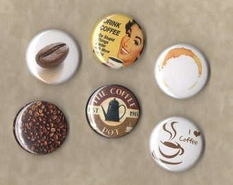 Coffee Lovers Pinback Buttons Set of 6