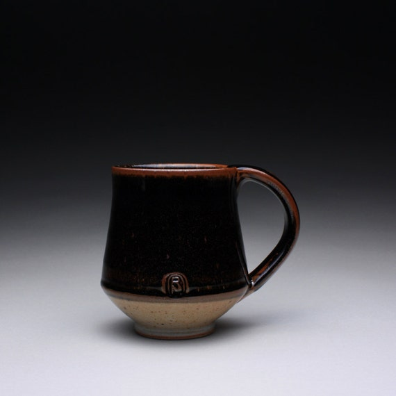 mug - coffee cup - teacup with black brown tenmoku and light orange shino glazes