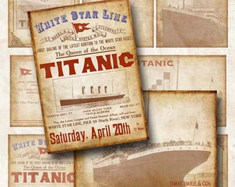 Digital Collage Sheet Titanic Tags Hang Tags ATC ACEO Background Instant Download ATC109