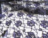 Black Purple Floral Lace Fabric