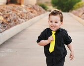Toddler Neck Tie with Stretchy Adjustable Fit Yellow, Blue, Red, Green, Black Dots