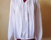 vintage SIMPLY WHITE sheer pleated blouse