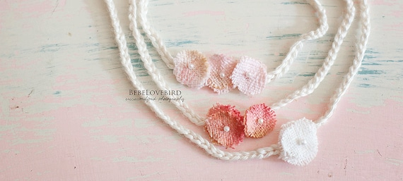 Set of 3 Vintage Flower Headbands - tie back newborn photography prop - twins triplets