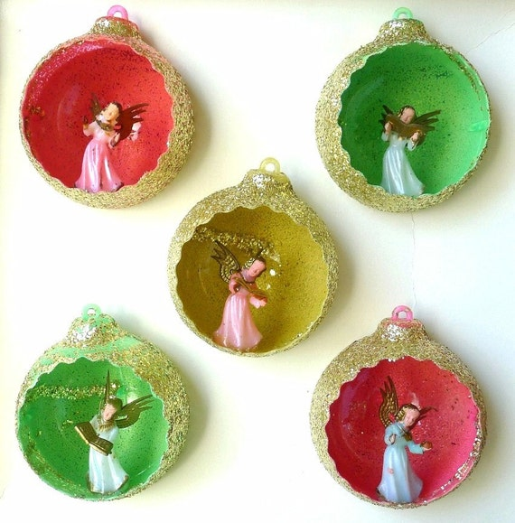 SALE Vintage Angel Ornaments Christmas Tree Glitter Diorama Decor Jewelbrite Retro 1960's - Treasury Item - Originally 21.00 Now 16.00