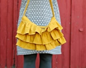 Ruffle Bag, Hobo bag, Mustard Yellow,Yellow Purse, Linen Ruffle Bag, mustard handbag , Ruffled Hobo Bag, Medium purse