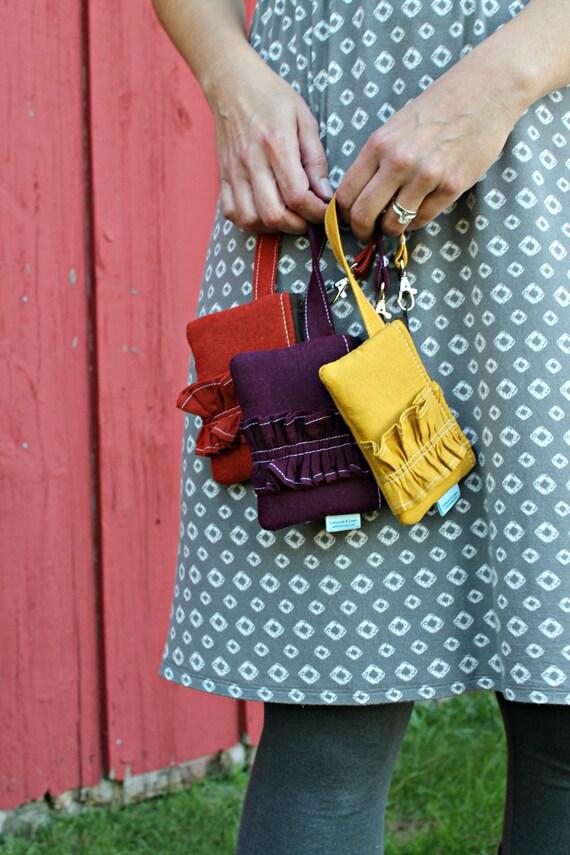 Linen Mustard Card Wallet - Wrist Strap - Credit Card Pouch