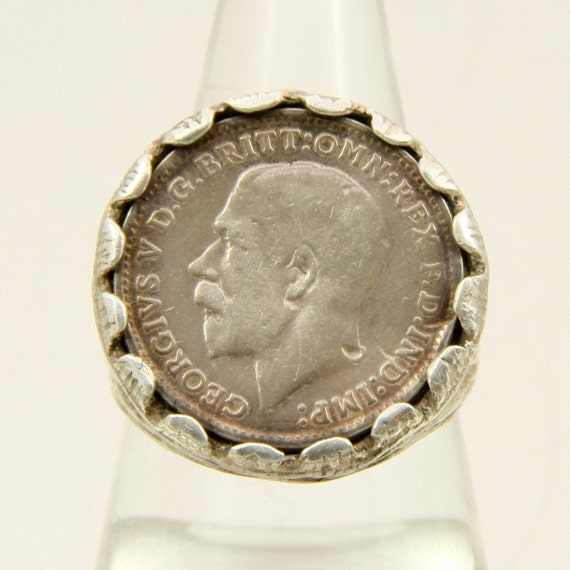 Vintage Silver Threepence Coin Ring Three Pence British By