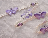 Lavender Daisy Beaded Flower Ivory Woven Ribbon Trim w Rhinestone Satin Butterfly Bow Scrapbook Baby Quilt