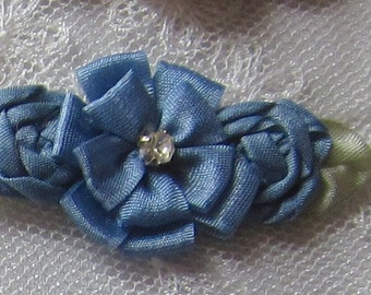 6 pc SMOKY BLUE Ribbon Rosette Rose Flower Beaded Applique w Stone Baby Dog Bow