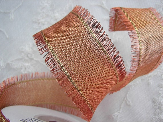 3yd  Metallic Wired Copper Orange Ribbon Fringe Trim Fall Holiday Scrapbook