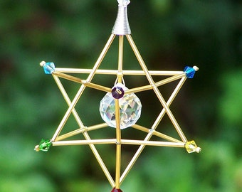 7 Chakras Merkaba Suncatcher / Pendulum - SWAROVSKI - Gold Tones