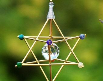 7 Chakras Merkaba Suncatcher / Pendulum - GEMSTONE - Gold Tones