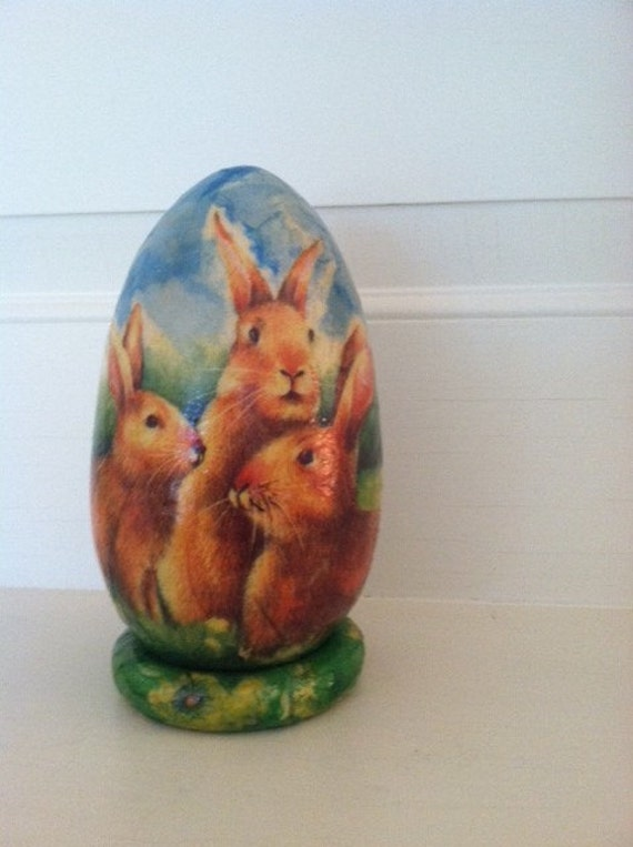 Hand Decorated Wooden Easter Egg