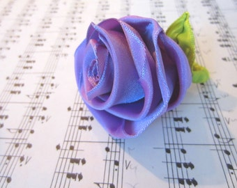 Cocktail ring with ribbon rose -- adjustable wrapped band and leaf in iridescent lavender -- be your own flower girl