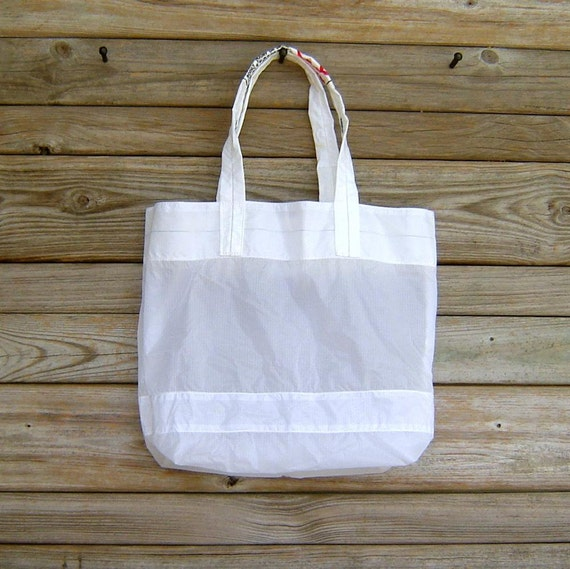 Tote Bag Medium White Parachute Slider with Warning Label