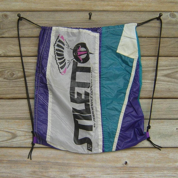 End Panel Drawstring Backpack : Purple and Teal Stiletto Parachute