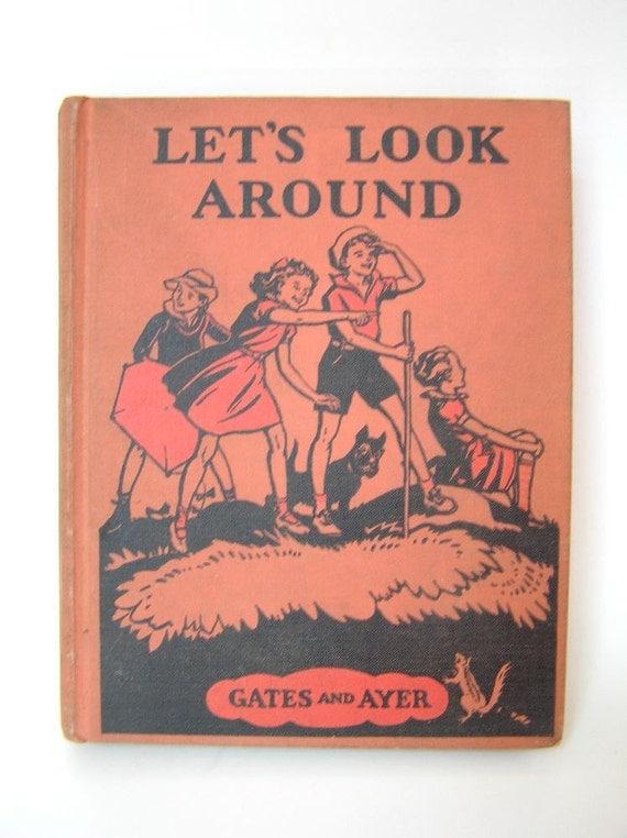Lets Look Around Vintage School Reader Primer 1940s