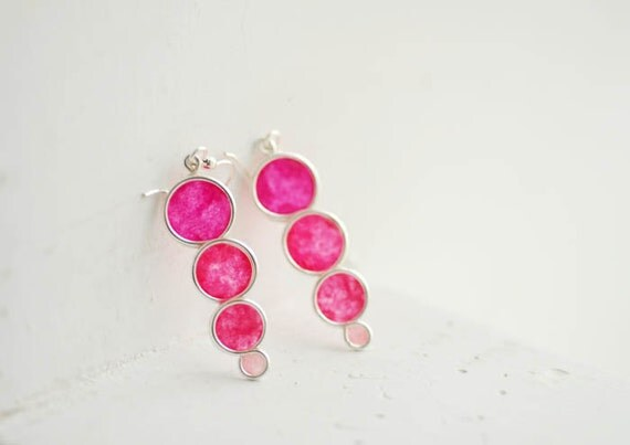 Pink Colorblock Graduated Circle Bubble Dangle Drop Earrings, 1st Anniversary Gift Paper Jewelry Stocking Stuffer Teen Girl Colorful Bright