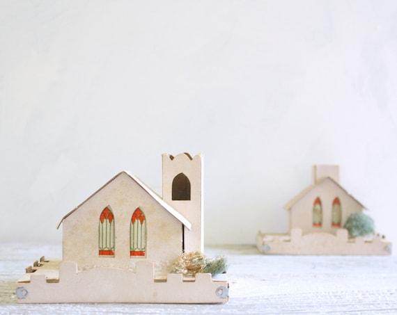 Pair of Vintage Cardboard Christmas Houses  - Putz Type - 1960s