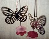 Pink Butterfly Earrings Flower Dangle Earrings French Wire Burgundy Pink Lightweight FREE SHIPPING #2014-362