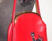 Red Patent Vinyl Vintage Purse with Black cat Applique