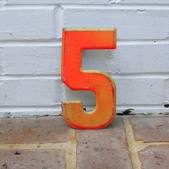 Vintage Metal Number 5 Painted Number 5 Sign Marquee Number Metal Sign Orange Chippy Paint