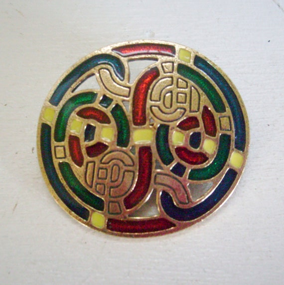 RESERVED Vintage celtic knot enamel pin or brooch gold tone by Sol D'Or Miracle