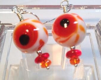 Bloodshot Eyeball Halloween Earrings