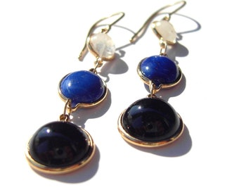 Onyx, Lapis and Rainbow Moonstone Recycled 14k Gold Dangle earrings