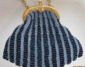 Blue Beaded Evening Bag