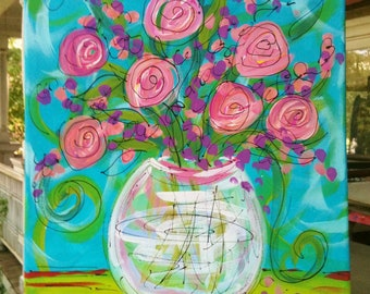 Roses in a Glass Vase Original Painting Made To Order