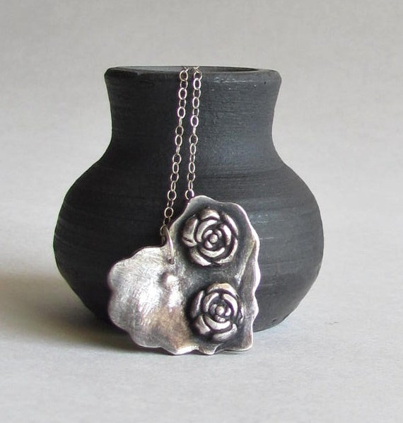 Heart Necklace - Precious Metal Clay - Rustic Jewelry