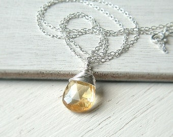 Citrine Necklace Sterling Silver Pendant Wire Wrap Necklace Birthstone Jewelry jewelry gift for her, womens